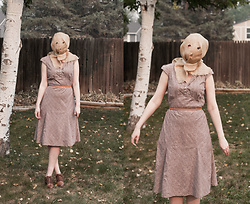 Emily S. - Vintage Prairie Dress, Lucky Brand Oxfords - Ms. Baghead - DIY Vintage Halloween Costume