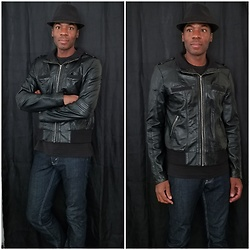 Thomas G - Faded Glory Fedora, Xhilaration Faux Leather Bomber, Levi's® 511 Strauss & Co - Fedora | Faux leather jacket | Jeans
