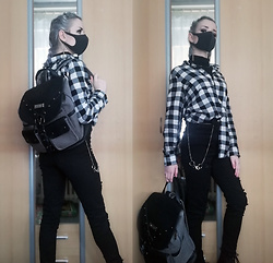 Grim Alex - Black Face Mask, Black Turtleneck, Sinsay Black&White Plaid Shirt, H&M Black High Waisted Ripped Jeans, Killstar Black And Grey Backpack - Bad Blood
