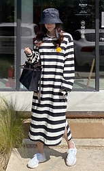 Miamiyu K - Miamasvin Smiley Detail Striped Long Dress - Striking Stripes