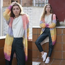 Alba Granda - Laagam Colorful Jacket, Bershka Mint Tee, Pull & Bear Green Leather Pants, Converse White, It's Lava Baguette Bag Green - Colorful Jacket