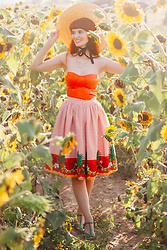 Bleu Avenue - Femme Luxe Amy Corset Top, Collectif Pineapple Skirt - Sunflowers and Sunshine