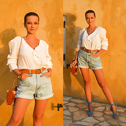 Tamara Bellis - Noracora Linen Blouse, Pull & Bear Belt, Zara Denim Shorts, Just Fashion Now Sandals, Zaful Bag - Chic & Comfy Style In
