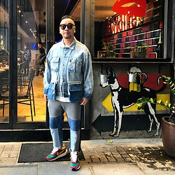 Mannix Lo - Patchwork Denim Jacket, Midwest Vintage Patchwork Denim Jeans, Sacai X Nike Ldv Waffle Sneakers - You're only as pretty as you treat people