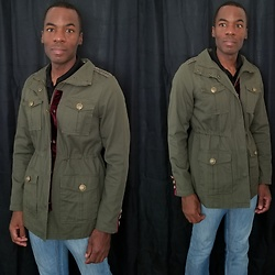 Thomas G - Steve Madden Military Style Embellished Jacket, Levi's 511 Strauss & Co - Military Style Embellished Jacket