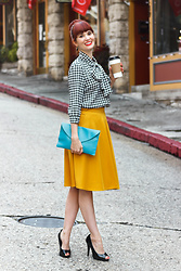 Bleu Avenue Ofbleuavenue - Unique Vintage Gwen Houndstooth Blouse, Chic Wish Basic A Line Mustard Skirt - Houndstooth Trend