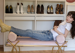 Veronika Lipar - A.P.C. Blue Slim Fit Mid Rise Jeans, H&M White T Shirt, By Far Square Toe Booties - One Way to Wear White T-shirt With Blue Jeans in Fall 2020