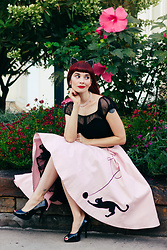 Bleu Avenue Ofbleuavenue - Collectif Pink Cat Skirt, Collectif Alina Black Mesh Top - Just Kitten Around