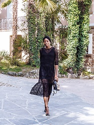 PAMELA - H&M Black Lace Dress, Nine West Mary Janes, Mango Croc Effect Bag - Romantic Black Lace