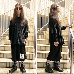 @KiD - Typhoon Mart Sunglasses, Komakino Tee, Komakino Sweat Shorts, Dr. Martens Unknown Pleasures - JapaneseTrash606