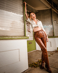 Gabby Chia - Wilfred Leather Pants, Shein Short Sleeve Cropped Button Up, Vagabond Brown Boots - Leather pants
