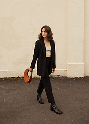 Tonya S. - Miista Boots, Trousers, Staud Moon Bag - Minimal Fall Look