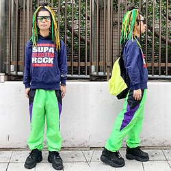 @KiD - Typhoon Mart Mirror Sunglasses, Supa Resque Hoodie, Buffalo Platform, Obey Neon Bag - JapaneseTrash607