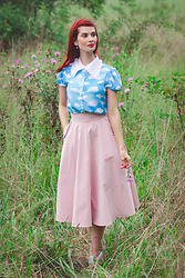 Bleu Avenue Ofbleuavenue - Hell Bunny Cloud Print Blouse, Chic Wish Classic Simplicity Skirt In Pink - Little House Days