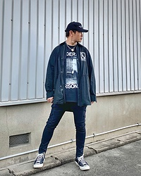 ★masaki★ - Federal Prisoner Teb, Komakino Shirts Jacket, R13 Denim Jeans, Converse Ct70, Vitaly Padlock Necklace - Black on Black