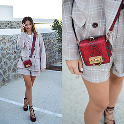 Tamara Bellis - Awesome Jade Checked Co Ord Suit, Asos Red Snake Bag, Amiclubwear Lace Up Heels - Awesome Jade Fall Suit