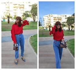 Mi Vida En Rojo - Sfera Top, Pull & Bear Mom Jeans, Baginning Mini Bag, Zara Flats - Mom Jeans