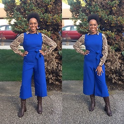 Lisa -  - Blue jumpsuit w/ brown zebra print