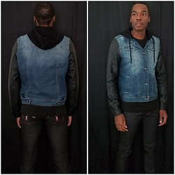 Thomas G - Dravus Hendrix Hooded Denim Vest Jacket, Denim Stretch Jeans - Vest jacket & Stretch jeans