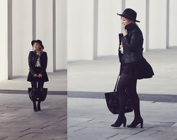 Anca Varsandan - Shein Faux Leather Jacket, C&A Skirt, Nine West Bag, Ralph Lauren Heels, H&M Hat, Zara Top - Preppy Witch