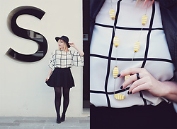 Anca Varsandan - Zara Stripe Top, C&A Skirt, Etnox Black Ring, H&M Hat - Yellow Necklace