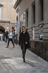 Alexander Renzl - Dr. Martens Black Leather Boots, Wormland Black Coat, Ray Ban Black Wayfarers - Send out those positive vibes