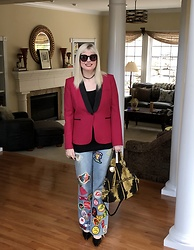 Shannon D - Veronica Beard Blazer, Gucci Bag, Ooak Patched Jeans, Manolo Blahnik Heels - Patched Jeans