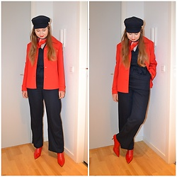 Mucha Lucha - H&M Hat, Second Hand Scarf, Second Hand Jacket, Monki Jumpsuit, Zara Boots - Navy jumpsuit