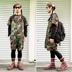 @KiD - Over Ride Oriental Beret, Rothco Jump Suits, Dr. Martens 10 Hole, Typhoon Mart Sunglasses - JapaneseTrash608