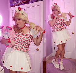 PastelKawaii Barbie - Sugar Thrillz Strawberry Ruffle Bustier Top, Cutie Kill White Heart Skirt Pleated, Shein White Ruffle Off Shoulder Top, Handmade Hello Kitty Beret Hat, Cutiekill Strawberry Ankle Socks, Ebay Heart Platform Sneakers, Ebay Heart Lace Wrist Cuffs, Amazon Red Heart Choker, Ebay Strawberry Earrings - 🍓 Fraise Hello Kitty🍓