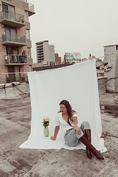 Mariamma Iris - Brooks Brothers White Short Sleeve Button Up Top, Rolla's Light Wash Jeans, Nine West Vintage Brown Pointed Toe Boots - NYC Rooftop