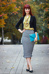 Bleu Avenue Ofbleuavenue - Shein Houndstooth Skirt, Modcloth Bulldog Blouse - Houndstooth