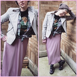 Lyndee M. - H&M Moto Jacket, Taupe Beanie, Kurt Cobain Tee, American Eagle Plaid Flannel, A New Day Satin Skirt, H&M Floral Boots - No apologies