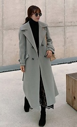 Miamiyu K - Miamasvin Self Tie Belt Long Wool Coat - Corporate Regal