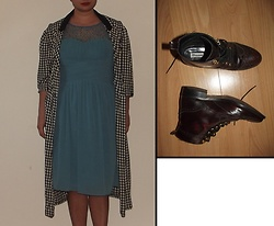 Selina - Vintage Sale Houndstooth Jacket, Little Mistress Teal Beaded Dress - Singing in the rain