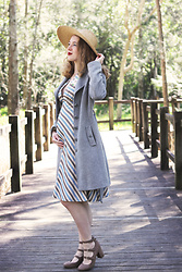 Kayla J - Tara Starlet Stripe 1940s Style Dress, Review Australia Grey Coat - 24 Weeks