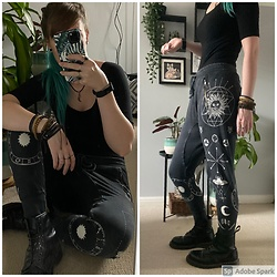 Space Coyote - Urban Outfitters Black Body Suit, H&M Celestial Joggers, Dr. Martens Black Boots - Mercury