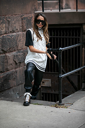 Lauren Recchia - Christian Dior Sunglasses, Ganni Sweater Vest, Oversized Tee, Leather Joggers, Gucci Combat Boots - Effortless Vest