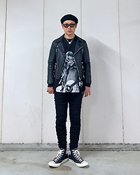 ★masaki★ - Vitaly Padlock, David Bowie Over Hands Eye, Neuw Denim Leather Jacket, R13 Denim Jeans, Converse Ct70 - Over Hands Eye