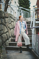 ZuZu Sabo - Bonprix Pink Tailored Coat, F&F Linen Overal, F&F Pink Handbag, Ccc Shoes Chunky Boots, F&F Denim Jacket - Layering