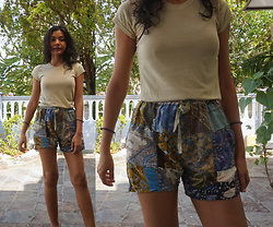 Shanaz AL - Thrifted Cotton Tee, Indonesian Batik Patchwork Shorts - Batik Patchwork