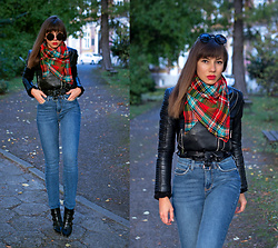 Jointy&Croissanty © - Bonprix Jeans - Blue jeans, biker jacket and plaid