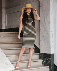 Raspberry Jam - Fashion Nova Khaki Stripe Midi Dress, Forever 21 Earrings, H&M Straw Hat, Urban Og Sandals - Khaki Stripe Midi Dress