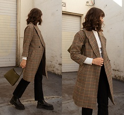 Tonya S. - The Frankie Shop Plaid Coat Sold Out, Brie Leon The Chloe Bag, Ganni Boots - Plaid for Fall