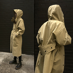 Aliya A - Somemoment Raincoat, Dr. Martens Boots - SOMEMOMENT HOODED RAINCOAT