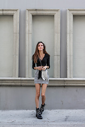 Jenny M - Amazon Top, H&M Skirt, Zara Bag, Zara Boots - IG @thehungarianbrunette - Grayscale Fall Look
