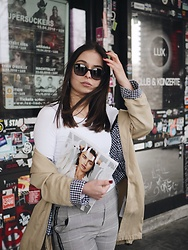 Jeany Roge - H&M Shirt, Trench Coat, Pants, Sunglasses - En Vogue