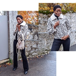 PAMELA - Stand Studio Snakeskin Shearling Jacket, Michael Kors Crossbody Bag, Maxmara Wide Leg Jeans - Shearling and Snake Prints