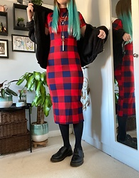 Space Coyote - Shein Mock Neck Split Back Buffalo Plaid Dress, Pull & Bear Black Fluffy Hoodie, Accessorize Necklaces, Dr. Martens Vegan Leather Shoes - Dead Weight