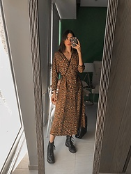 Mariana Garza - Zara Cheetah Print Dress, Stradivarius Combat Boots - I'll always like cheetah print